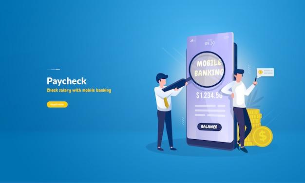 Pessoas verificam o pagamento de salários usando banco móvel para conceito de dia de pagamento