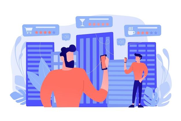 Pessoas verificando as taxas e classificações de cafés, bares e lojas de varejo com smartphones. sistemas de serviços inteligentes, navegação inteligente, iot e conceito de cidade inteligente. ilustração vetorial