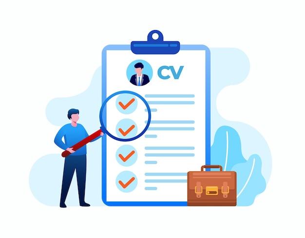 Pessoas verificando um candidato a currículo, conceito de contratação de trabalho, vaga online. ilustração em vetor plano