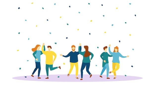 Pessoas vestidas com roupas da moda dançando se divertem. conjunto de caracteres masculinos e femininos, se divertindo em uma festa. sorrindo, homens e mulheres jovens desfrutam de uma festa de dança. ilustração, .
