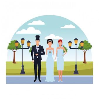 Pessoas vestidas para casamento