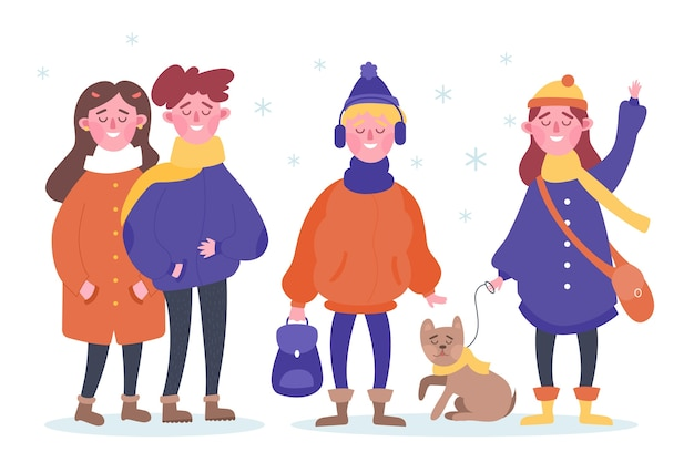 Pessoas vestindo coleção de roupas de inverno