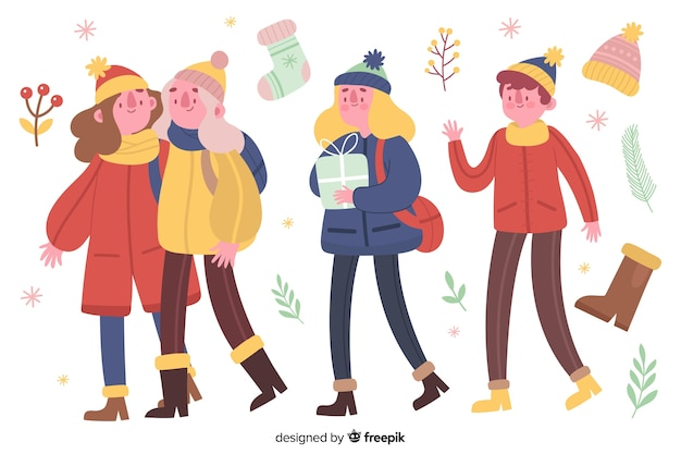 Pessoas vestindo conjunto de roupas de inverno