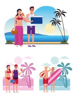 Pessoas vestindo maiôs na praia personagens
