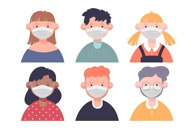 Pessoas vestindo máscara médica design plano