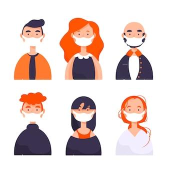 Pessoas vestindo máscara médica ilustrada