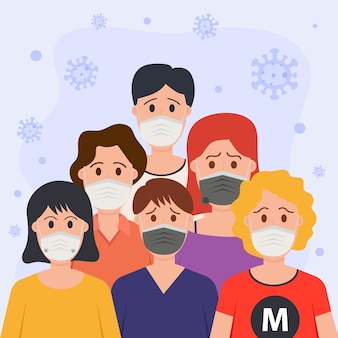 Pessoas vestindo máscara médica