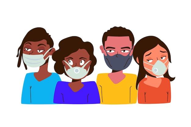 Pessoas vestindo máscaras conceito