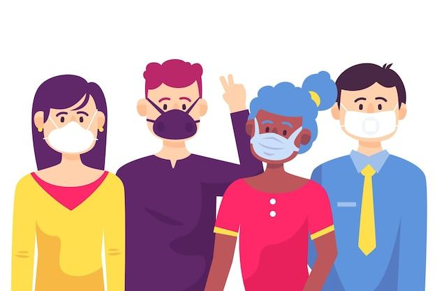 Pessoas vestindo máscaras diferentes