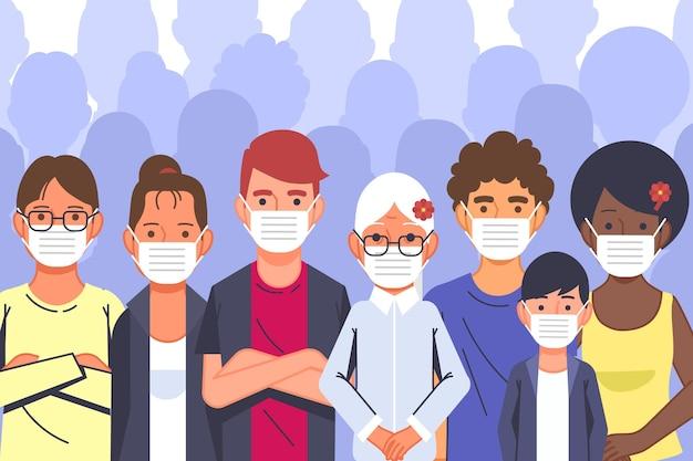 Pessoas vestindo máscaras faciais