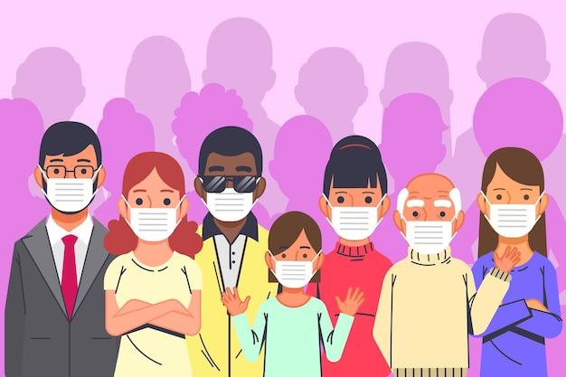 Pessoas vestindo máscaras médicas