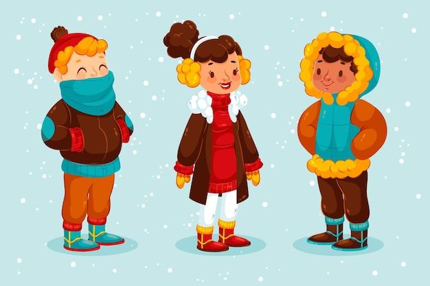 Pessoas vestindo roupas de inverno aconchegantes
