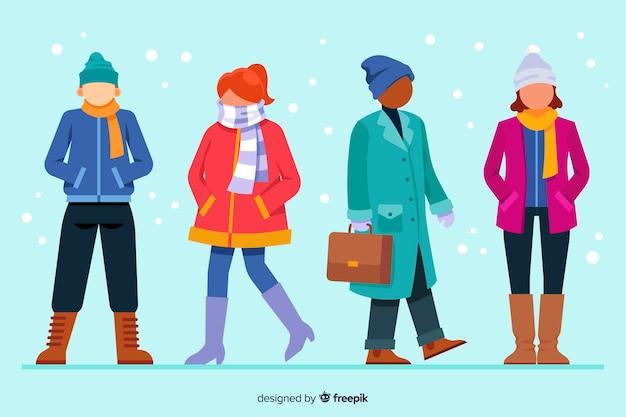Pessoas vestindo roupas de inverno conjunto
