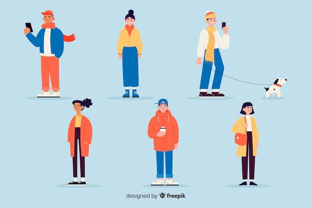 Pessoas vestindo roupas de inverno design plano