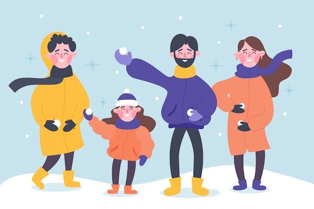 Pessoas vestindo roupas de inverno ilustração