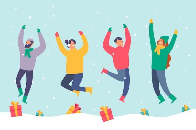 Pessoas vestindo roupas de inverno pulando