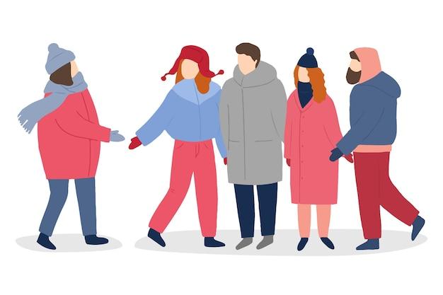 Pessoas vestindo roupas de inverno