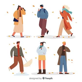 Pessoas vestindo roupas de outono ilustração