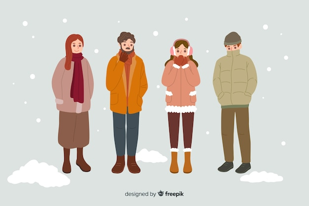 Pessoas vestindo roupas quentes de inverno