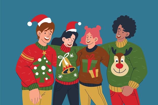 Pessoas vestindo suéteres feios