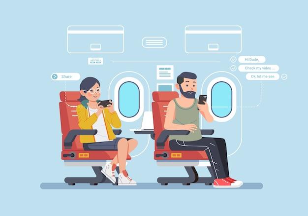 Pessoas viajam de ilustração de avião e ocupadas com seus smartphones
