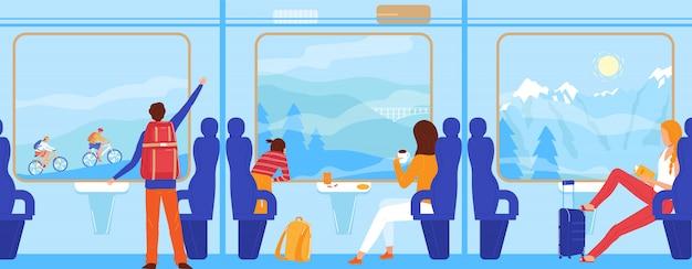 Pessoas viajam de trem