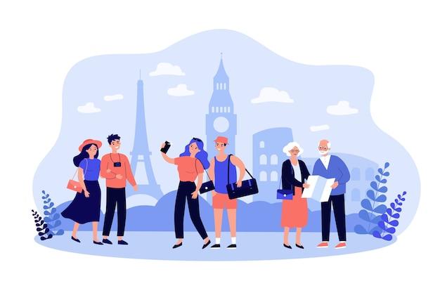 Pessoas viajando, caminhando em pontos turísticos famosos da cidade, tirando fotos ou selfies, usando mapas de papel.