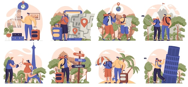 Pessoas viajando coleção de cenas isoladas os viajantes vão para um resort de caminhadas de férias