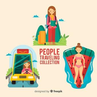 Pessoas viajando coleção