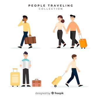 Pessoas viajando com coleção de mala