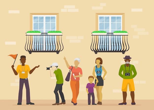 Pessoas viajando com ilustração de excursão de cidade guia. família ou grupo de turistas perto da fachada da casa. os turistas visitam o sightseeing, tiram fotos na câmera.