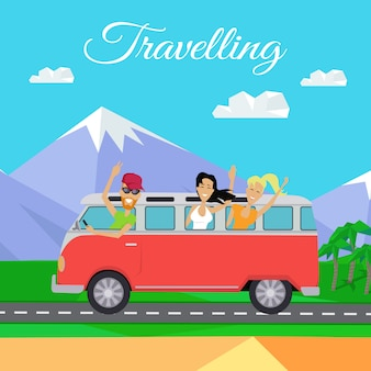 Pessoas viajando de microônibus