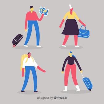 Pessoas viajando design plano de coleção