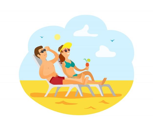 Pessoas viajando, homem e mulher na praia do resort