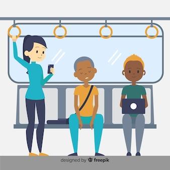 Pessoas viajando no metrô