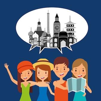 Pessoas viajantes turísticas discurso burbuja marco