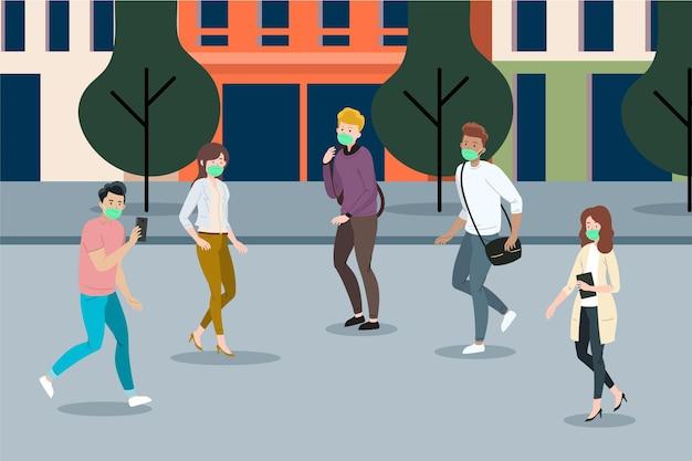 Pessoas voltando ao trabalho de ilustração com máscaras