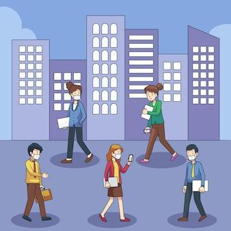 Pessoas voltando ao trabalho de ilustração