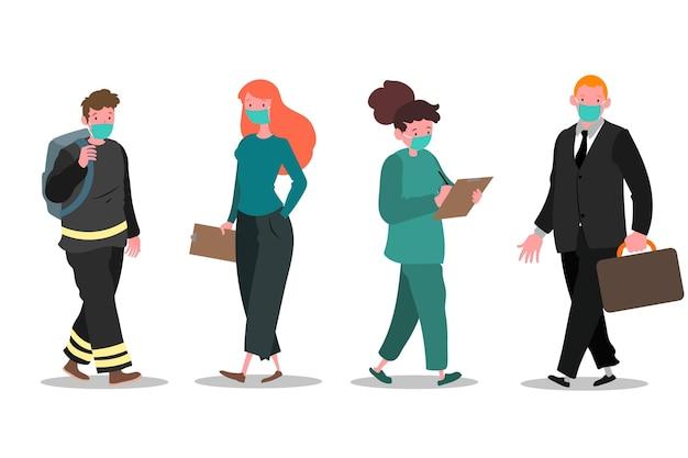 Pessoas voltando ao trabalho usando conjunto de máscaras