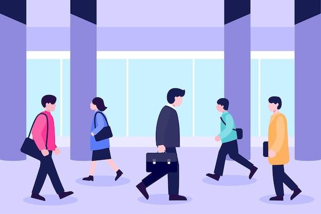 Pessoas voltando ao trabalho