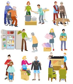 Pessoas voluntárias de vetor de caridade cuidando de idosos com deficiência ou personagens cegos e doação voluntária
