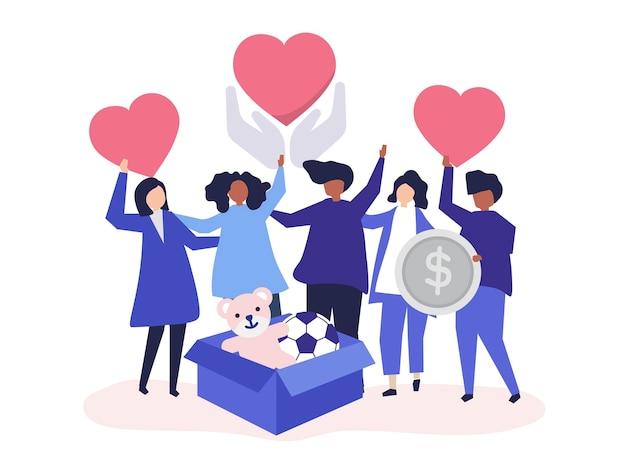 Pessoas voluntárias e doando dinheiro