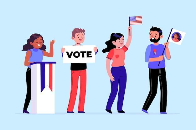 Pessoas votando em cenas de campanha eleitoral