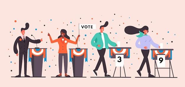 Pessoas votando em cenas de campanha para presidente