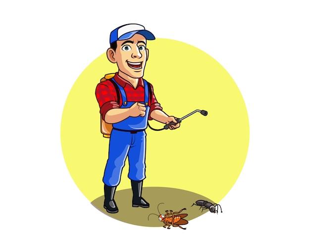 Pest control serviceman matar formiga e personagem de desenho animado de barata