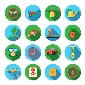 Pesticidas e agricultura sombra redonda conjunto de elementos isolados vector plana ilustração