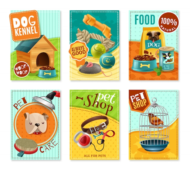 Pet care 6 mini banners set