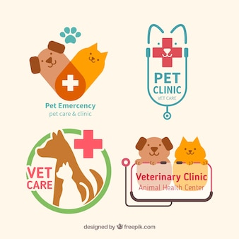 Pet clínica pacote logos plana