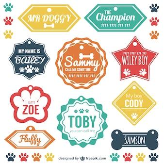 Pet etiquetas de identificação vector set