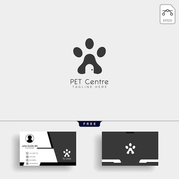 Pet home ou loja modelo de logotipo criativo com cartão de visita